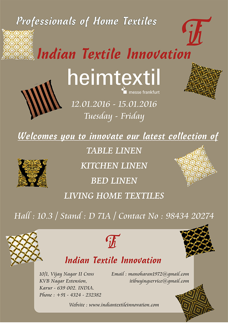 WELCOME TO INDIAN TEXTILE INNOVATION